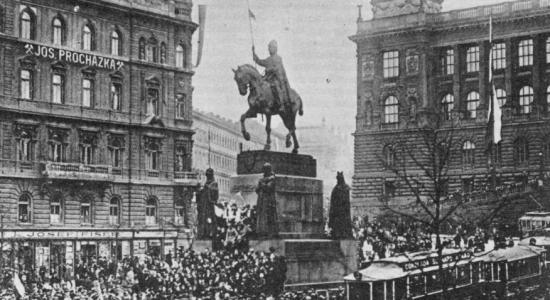Demonstrace na Václavském náměstí 28. 10. 1918