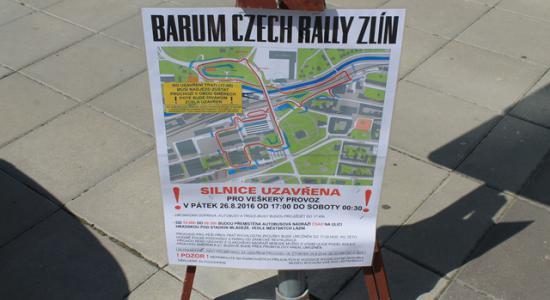 Barum Czech Rally Zlín: Omezení pro návštěvníky knihovny 26. 8. 2016